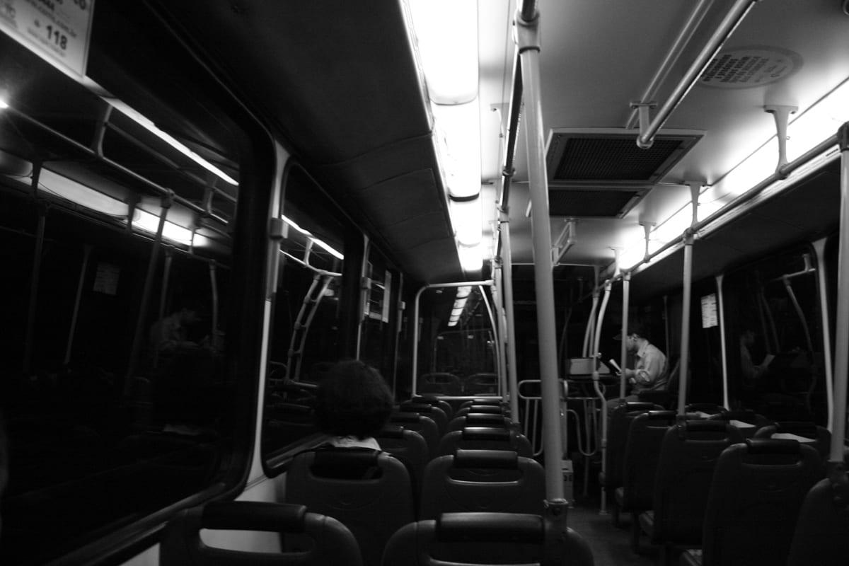 City bus at night