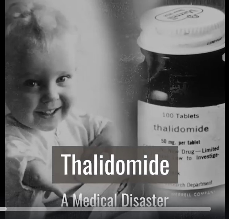 Thalidomide: a Medical Disaster graphic with a baby with short arms, and a pill bottle collaged next to her face